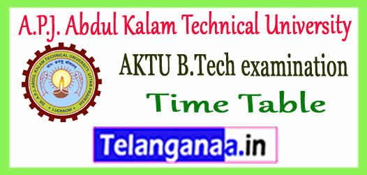 AKTU A.P.J. Abdul Kalam Technical University B.Tech 2nd 4th 6th 8th Semester Exam Time Table 2017