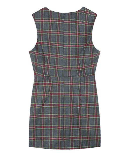 Checkered Sleeveless Belted Dress