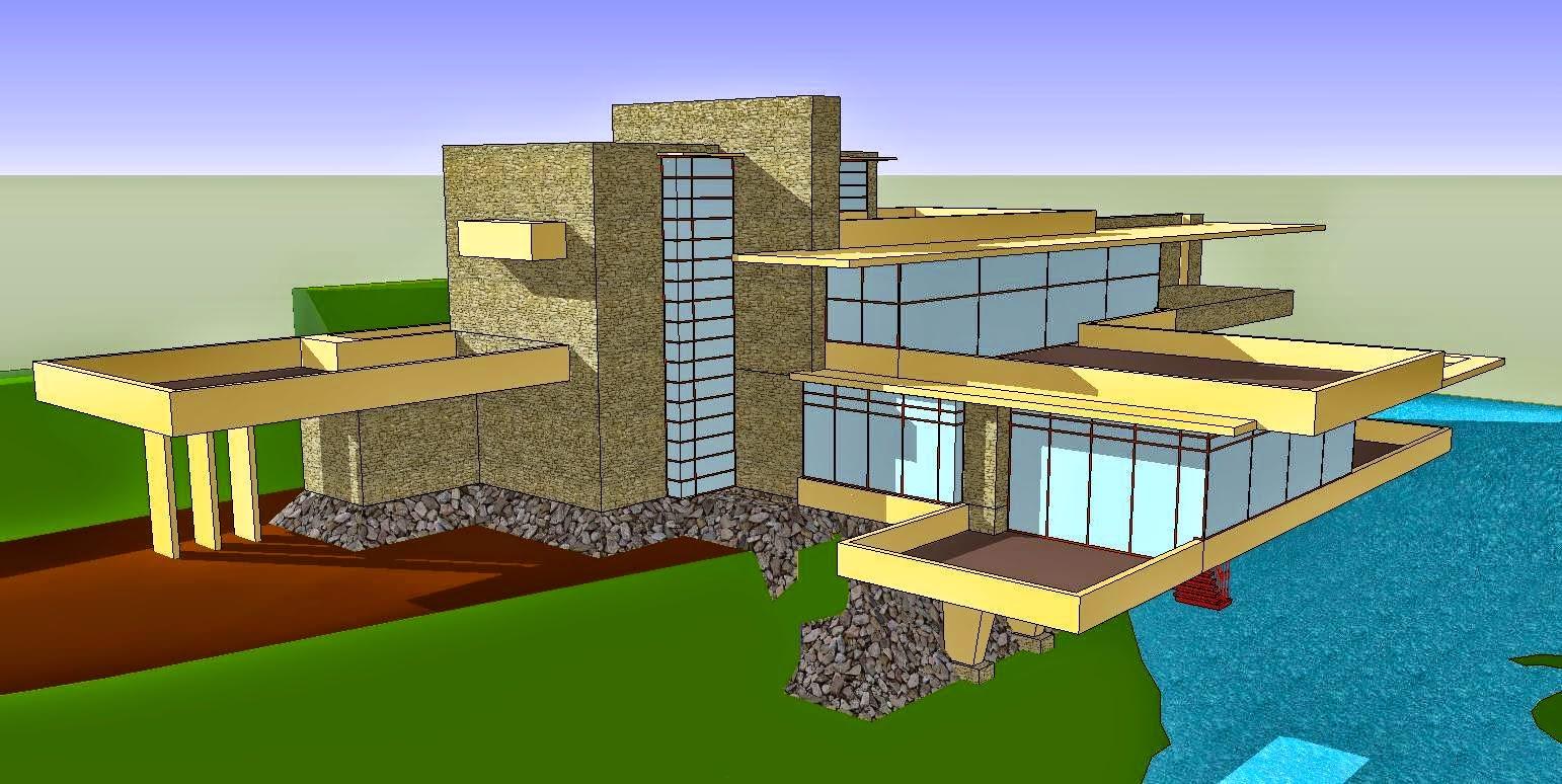 fallingwater house design file sketchup design home. Black Bedroom Furniture Sets. Home Design Ideas