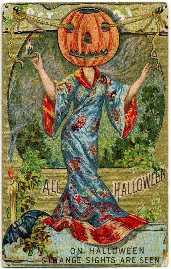 Старинные открытки в честь Хэллоуина - 15
