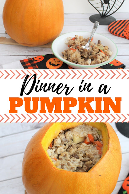 Savory fall recipe for dinner in a pumpkin.  Perfect for Halloween, fall or Thanksgiving gatherings and parties.