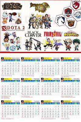 Kalender 2019 Desain Anime