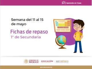 Secundaria Fichas de trabajo para Aprender en Casa de la semana del 11 al 15 de mayo
