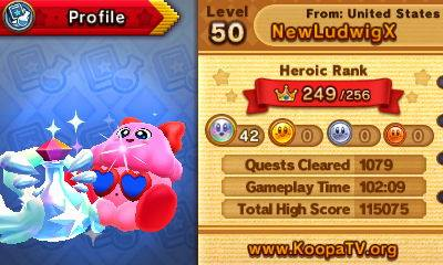 Team Kirby Clash Deluxe heroic rank 249 no wireless quests