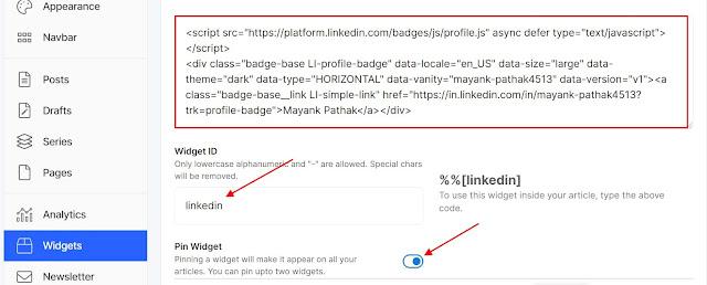 Show your LinkedIn Badge on Hashnode - Created