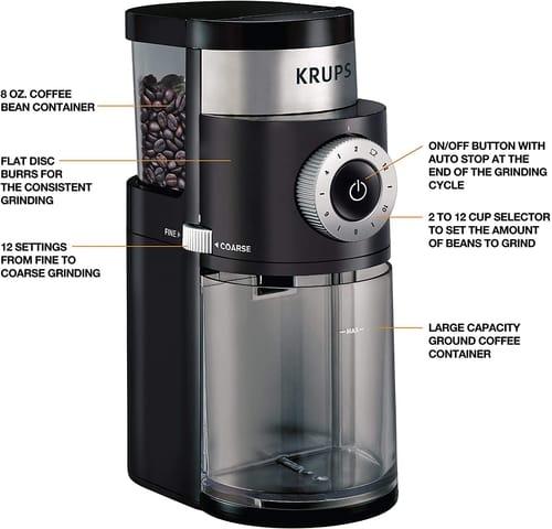 KRUPS GX550850 Precision Grinder Flat Burr Coffee