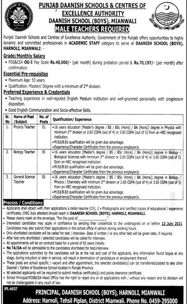 Punjab Daanish Schools & Centers Jobs 2021 in Pakistan