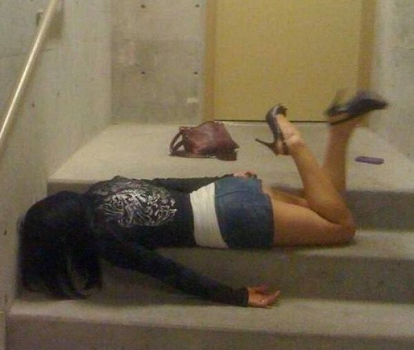 Drunk girls falling down