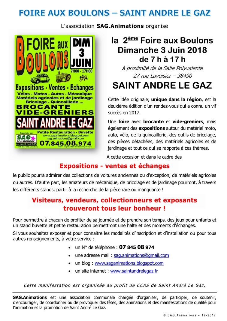 Communiqué de presse : Foire aux Boulons 2018 à Saint André Le Gaz