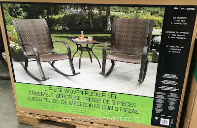 Have a place to sit and relax in your backyard or patio with the 3 Piece Woven Rocker Set