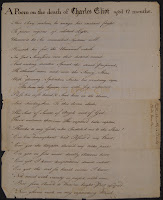 "A handwritten page of verse titled ""A Poem on the Death of Charles Eliot, aged 12 months."""