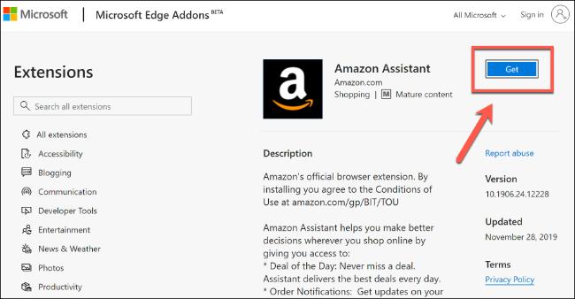 انقر فوق Get لتثبيت ملحق Microsoft Edge من متجر Microsoft