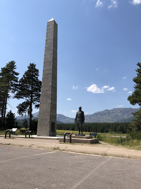 Theodore Roosevelt and John Stevens Memorial at Marias Pass