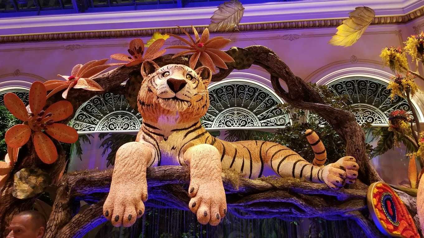Indian Summer theme at the Bellagio Las Vegas conservatory. Everything is made out of flowers!