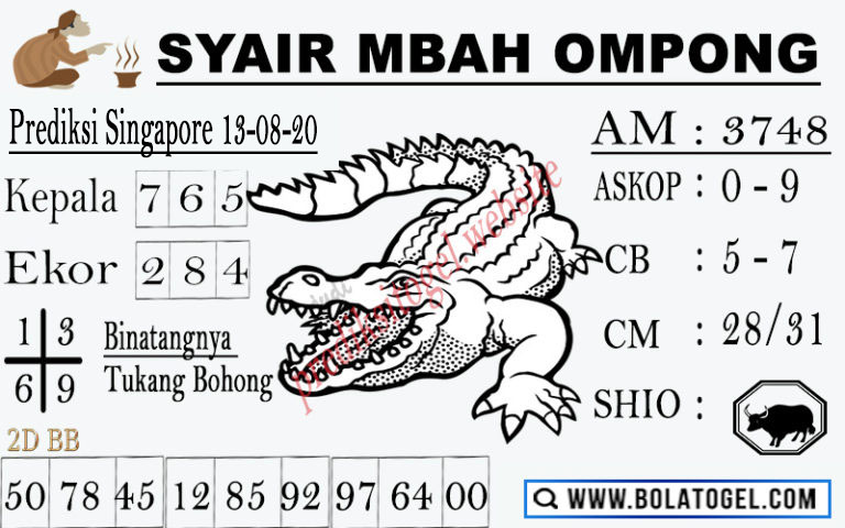 syair sgp mbah ompong 13 agustus 2020