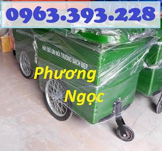 Xe gom rác nhựa 660 Lít, xe gom rác 3 bánh, xe gom rác 660L 3 bánh hơi XR660L3B1