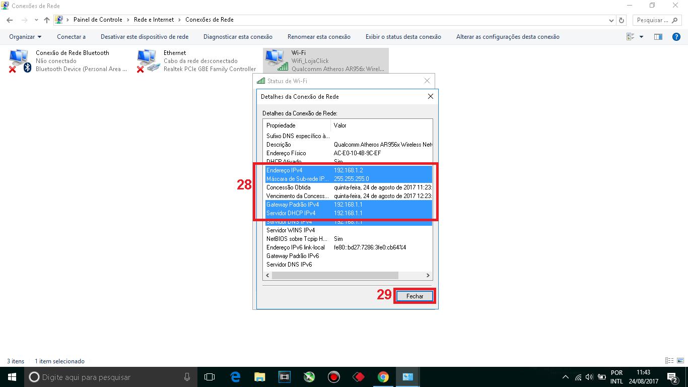 28 - Anote as informações de sua conexãocomo o IP e o Gateway.  29 - Feche essa janela de detalhes da conexão.