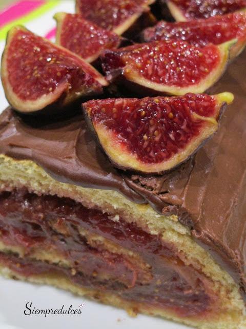 Brazo de gitano de higos y chocolate (Siempredulces)