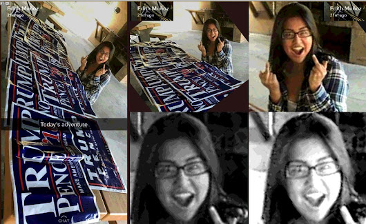 Her name is Edith Muñoz -- she stole dozens of Trump signs, committing larceny. SHARE and get her name out there!