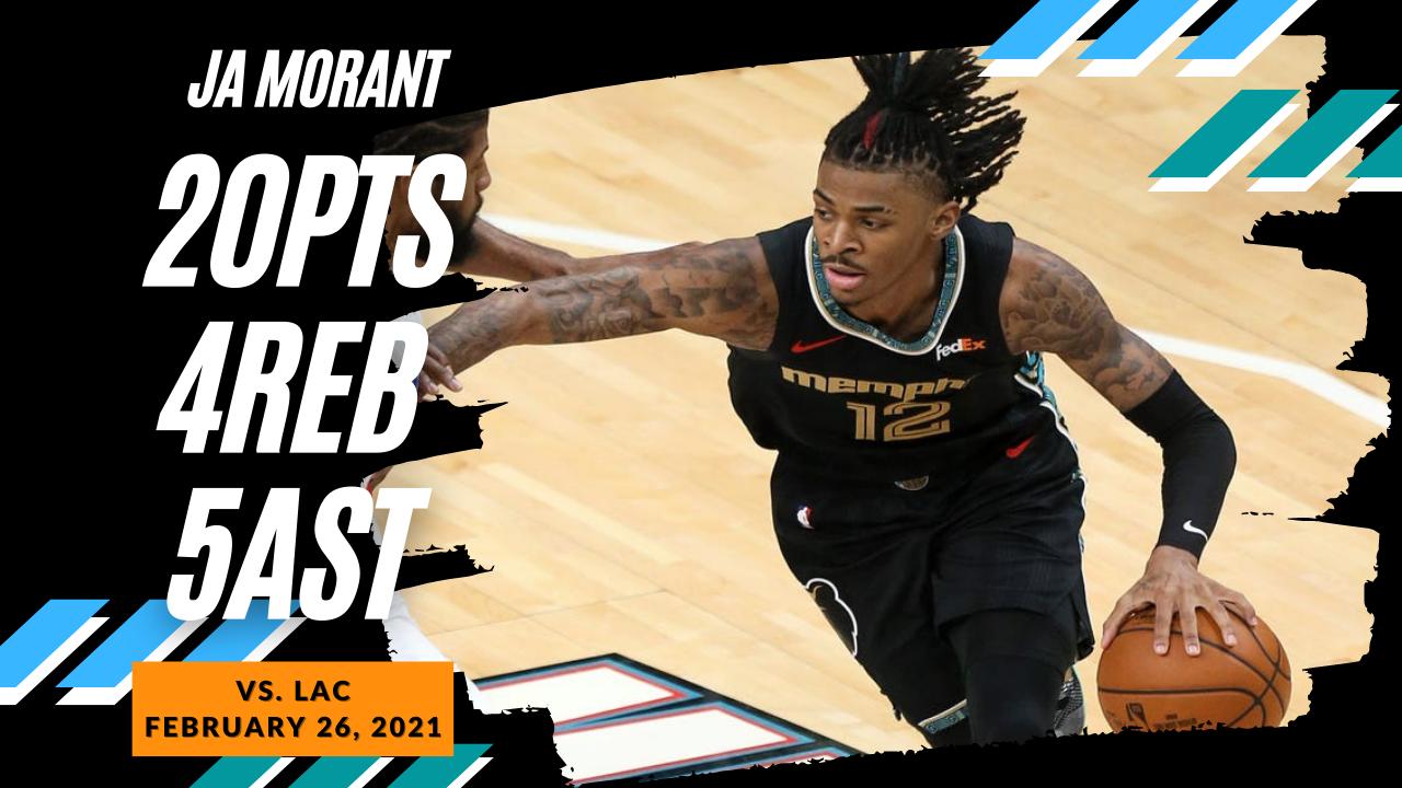 Ja Morant 20pts 5ast vs LAC   February 26, 2021   2020-21 NBA Season