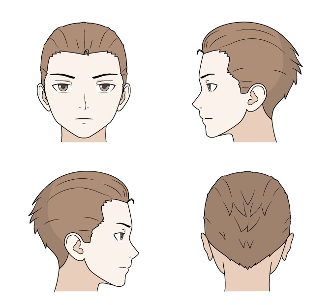 Menggambar sisir rambut anime depan, belakang dan samping