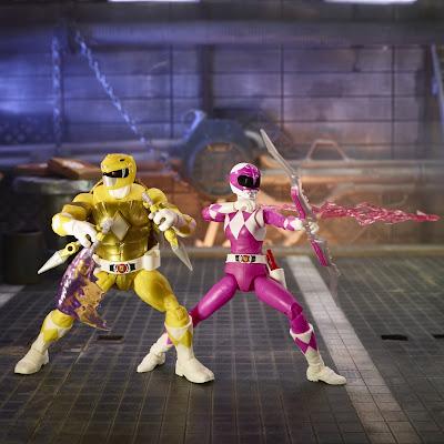 Mighty Morphin Power Rangers x Teenage Mutant Ninja Turtles Lightning Collection Yellow Ranger Michelangelo & Pink Ranger April O'Neil Action Figure 2-Pack by Hasbro