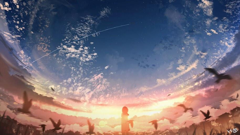 Sky, Clouds, Sunset, Anime, Scenery, 4K, #6.2594
