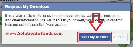 facebook deleted messages recovery ke liye start my archive par click kare