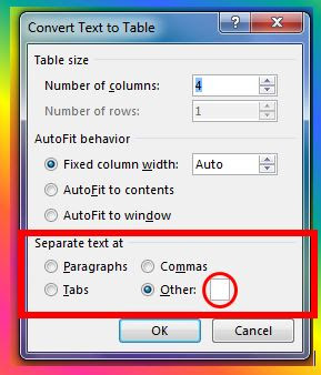 Separate text into columns using symbol in MS Word