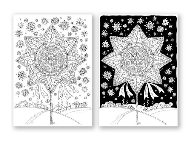 два кольори: Звізда Різдвяна Рождественская раскраска для ...
