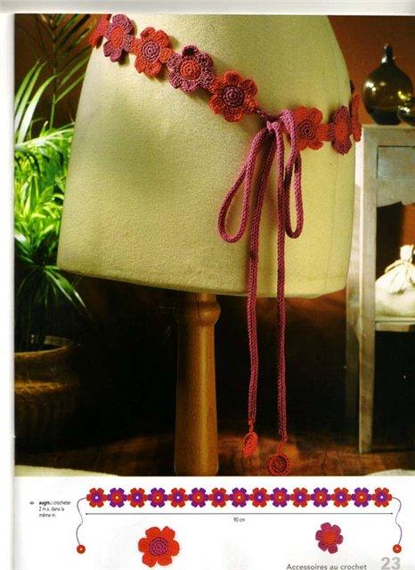 Cinturon de Crochet Florecillas Rojas