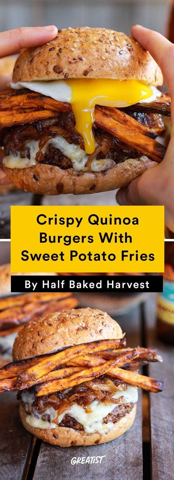 Epic Crispy Quinoa Burgers With Sweet Potato Fries