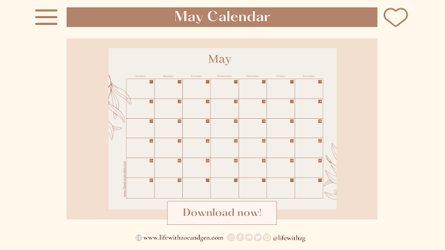 Free Minimalist May 2021 Calendar Printable or for digital journaling by Life with ZG. l Gen Roraldo