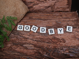 "Scrabble pieces on a natural wood surface, spelling the word ""goodbye"""