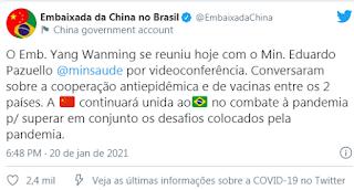 Print da Embaixada da China no Brasil