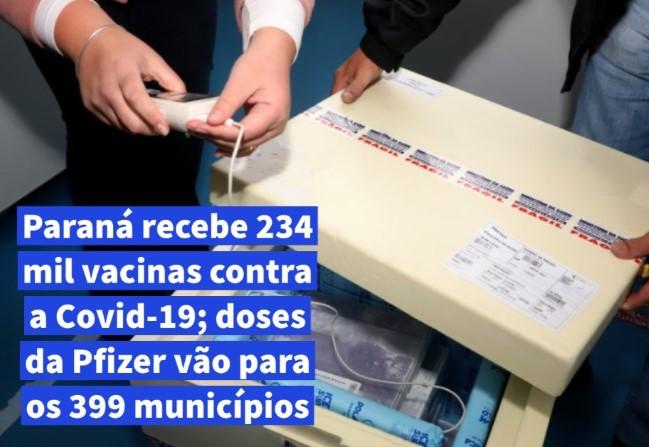 Paraná recebe 234 mil vacinas contra a Covid-19; doses da Pfizer vão para os 399 municípios