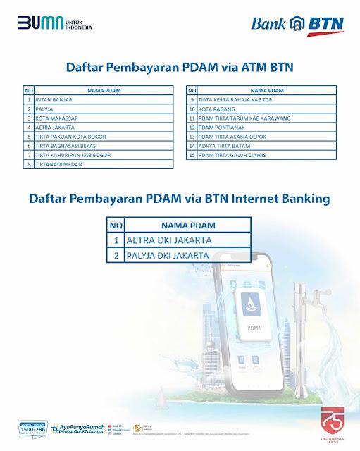Daftar PDAM yang Bisa dibayar Pakai ATM BTN