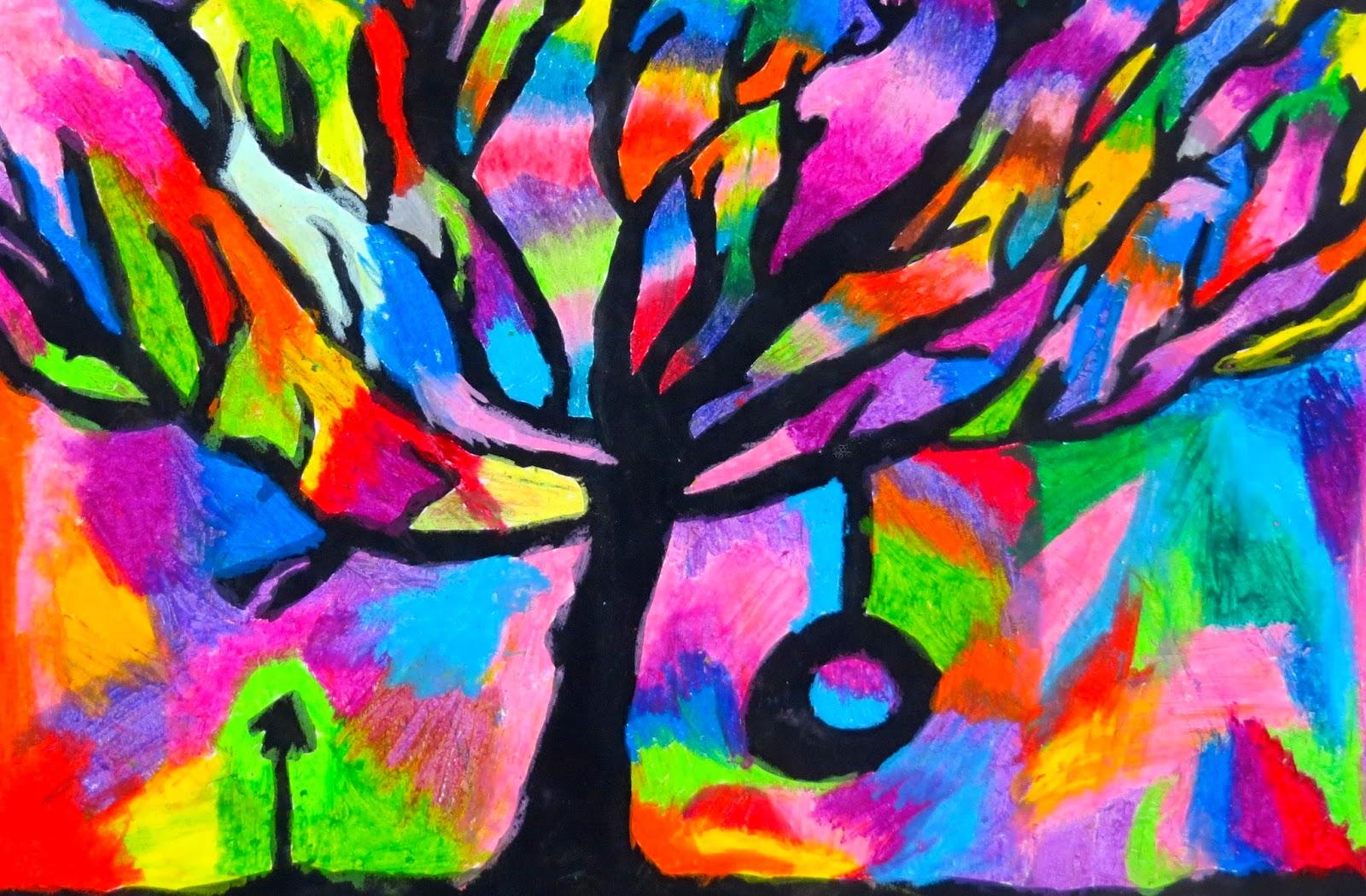 Oil pastel trees