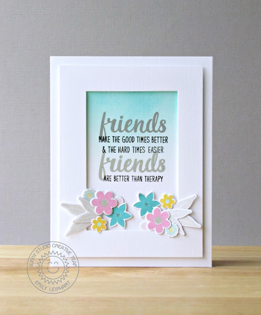Sunny Studio Stamps: Friends & Family Floral Friend Themed Card by Emily Leiphart