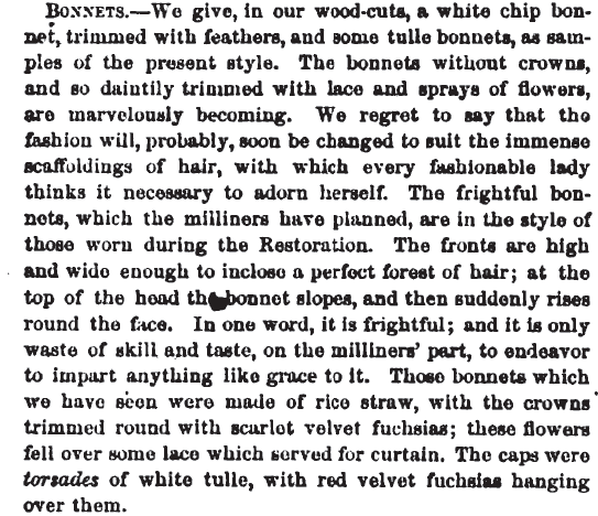 Bonnet descriptions in Peterson's Magazine, June 1865.