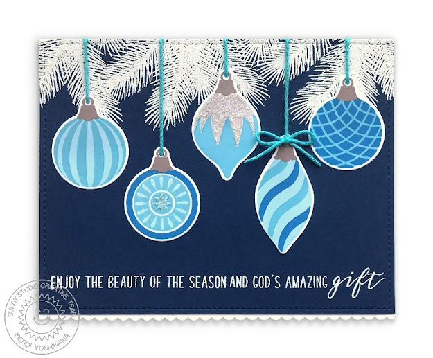 Sunny Studio Navy Blue & White Vintage Glass Ornaments Handmade Holiday Christmas Card (using Retro Ornament, Classy Christmas & Inside Greetings Christmas Stamps, Frilly Frames Quatrefoil Dies & Slimline Basic Border Dies)