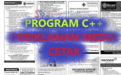 Membuat Program Periklanan Media Cetak di Bahasa Pemrograman C++ dan C