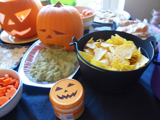 Puking Guacamole Pumpkin with tortilla chips