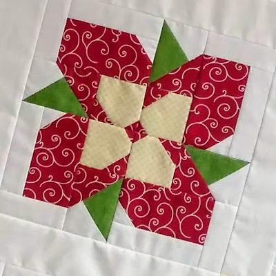 Red patchwork flower block