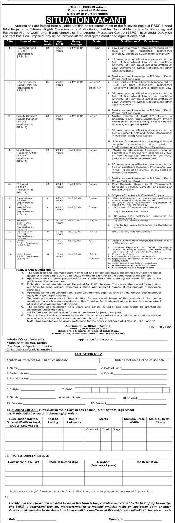 Download Ministry of Human Rights Jobs 2021 Application Form - Jobs in Pakistan 2021 - Jobs in Islamabad 2021 - Jobs For Primary, Middle, Matric, Intermediate Degree, Bachelor Degree, Master Degree Base