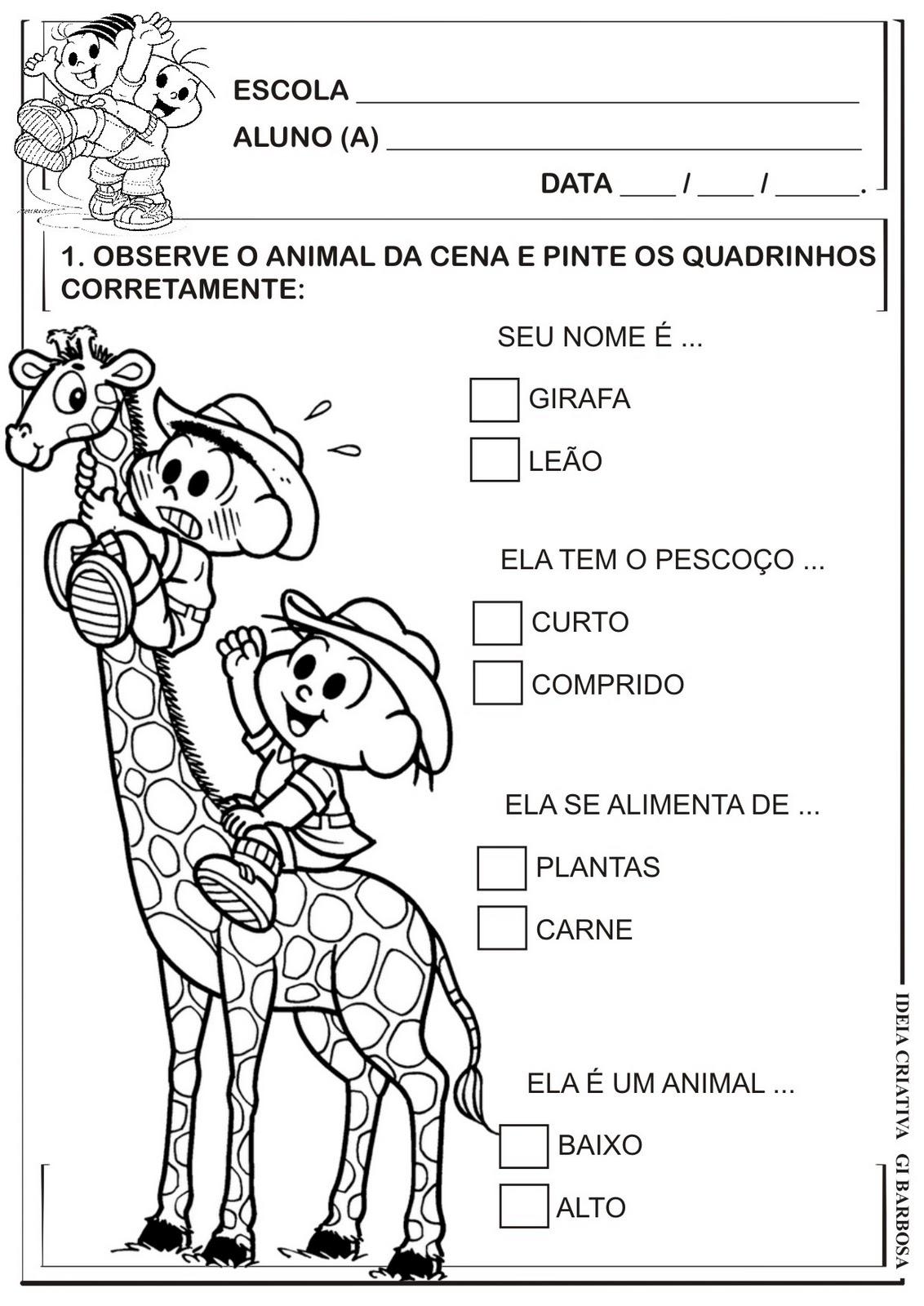 Atividade Animais Turma Da Mônica