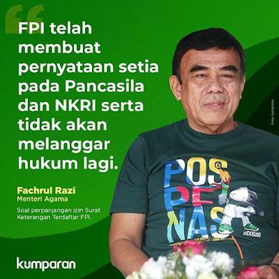 Menteri Agama Fachrul Razi Dukung Izin FPI
