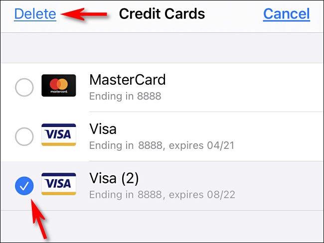 """بعد النقر على """"تعديل"""" ، حدد بطاقة من القائمة ثم انقر على """"حذف""""."""