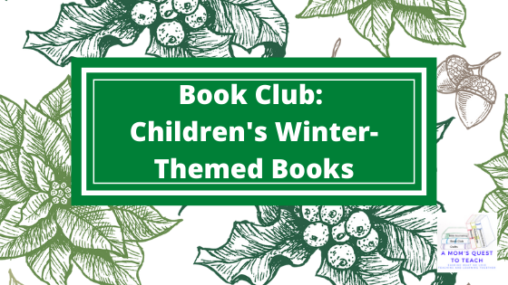 Book Club: Children's Winter-Themed Books; background image of winter flowers