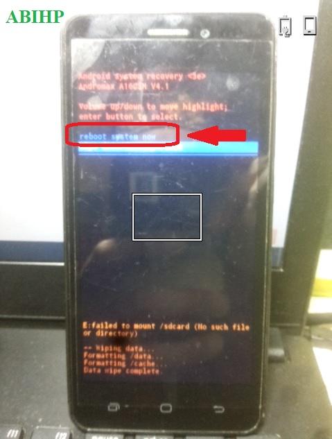Setelah selesai reset maka pilih reboot system now Andromax A.